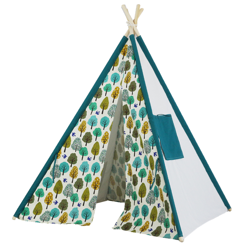 TT40-Broadleaf forest-Portable Kids Cotton Canvas Teepee Indian Play Tent Playhouse